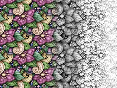 3d Floral Pattern with Progress Demonstration illustration flower work in progress coloring book doodle floral realistic pattern ornament 3d vector