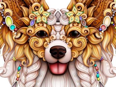 Papillon Vector Illustration spaniel happy pattern doodle animal dog papillon realistic illustration 3d ornament vector