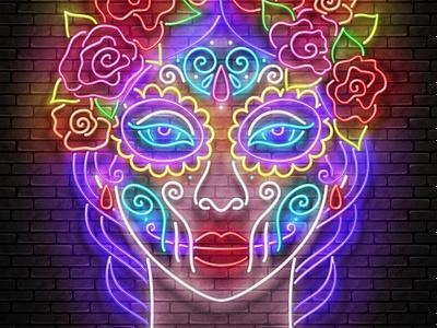 Neon Light Catrina Calavera, Mexican Day of the Dead dia de los muertos holiday halloween mexican mexico day of the dead catrina calavera neon realistic 3d vector