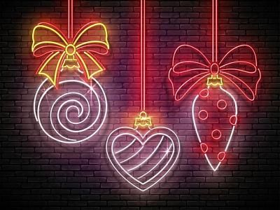 Neon Light Christmas Greeting Card heart christmas tree bow neon realistic christmas decorations new year christmas desing greeting card illustration vector 3d
