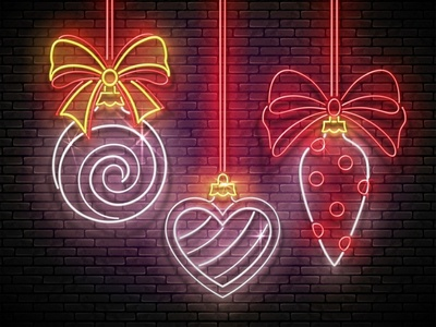 Neon Light Christmas Greeting Card heart christmas tree bow neon realistic christmas decorations new year christmas desing greeting card illustration vector 3d