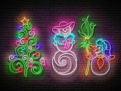 Neon Light New Year Greeting Card new year love christmas tree snow woman snow man winter christmas neon 3d realistic vector