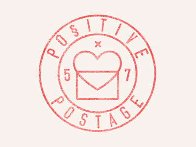 Positive Postage Stamp Logo stamp texture vector love heart print postcard 5x7 identity type craft first-class
