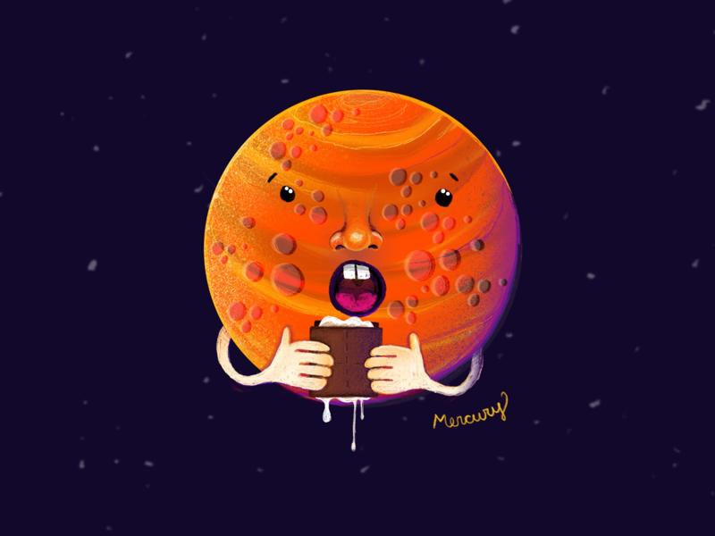 Mercury childrens illustration solar system ipad pro procreate planet