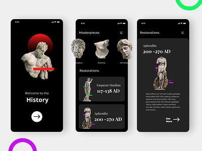 Museum App design Concept museum mobile ui ui designer interaction design interaction app design figma design