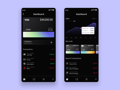 Finance App-Manage Crads uidesign ui app interaction design figma design mobile ui interaction