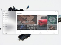 News app UI concept for Windows 10 (UWP, Fluent design system)