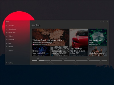 -Dark- News app UI concept for Windows 10 (UWP, Fluent design) redesign msn acrylic design fluent microsoft 10 windows concept ux ui news