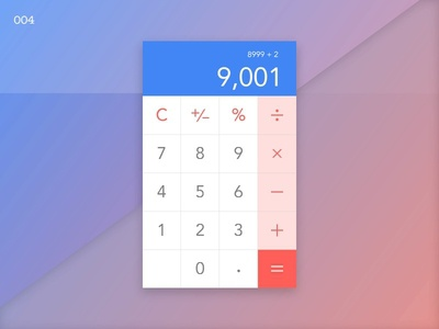 Daily UI - 04 invision invisionstudio over9000 blue white red day4 calculator dailyui