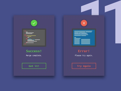 Flash Messages - Day 11 daily ui vector uidesign nyc design concept success card error message clean code blue screen 11 pc bsod code dailyui day 11 error success github merge