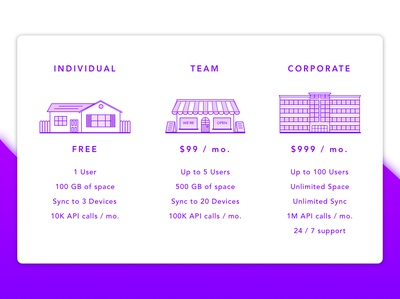 Pricing Plan daily ui vector uidesign dailyui bigoffice office home sketchapp prices concept design nyc purple corporate team individual free pricing plan pricing daily-ui
