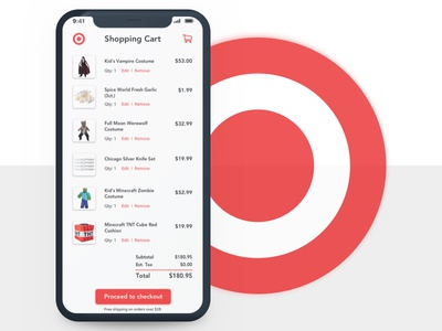 Shopping Cart branding ui app ux total checkout logo vector illustration sketchapp red halloween costumes target uidesign nyc daily ui concept design dailyui