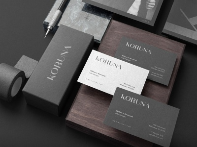 Branding // Koruna dark black sleek minimalistic minimal sophisticated high-end branding design logo