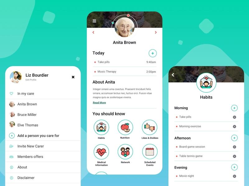 The Care Journal App app wellness nursing mentalhealth tracker activities profile journal people elderly carers ui design ux design mobile app health health care