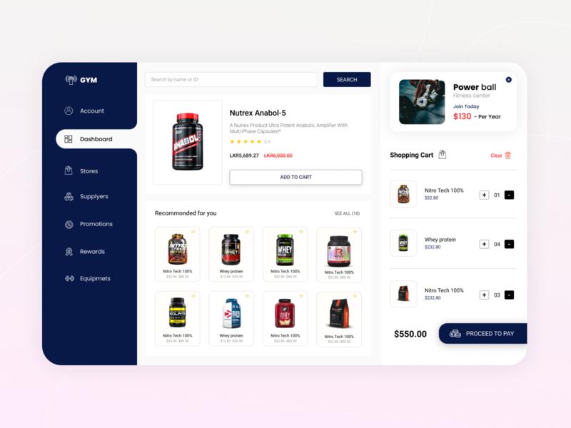 Online supplement store - Dashboard Design shopping cart cart dashboard design dashboard ui gym gym app fitness app fitness supplement supplement store