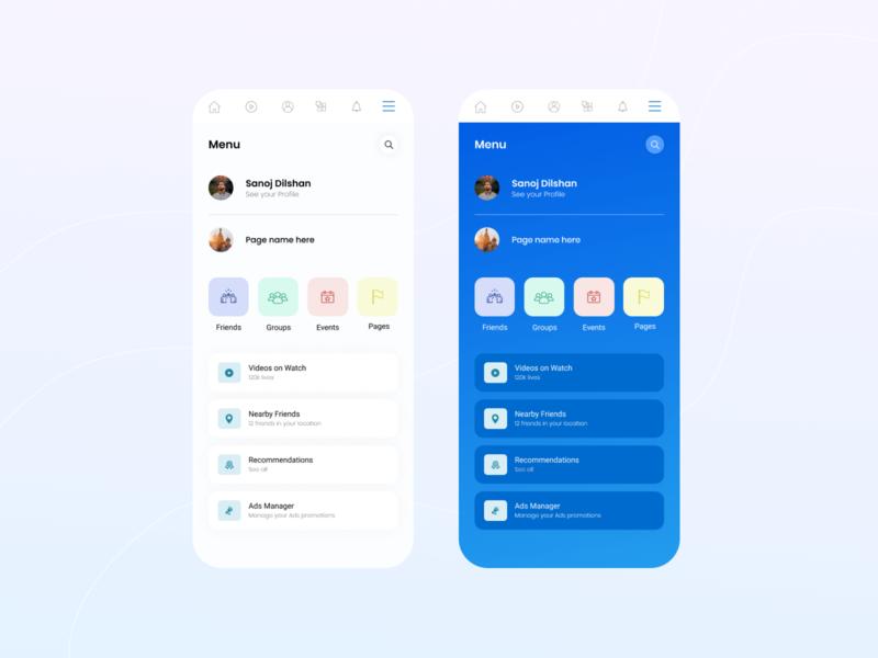 Facebook navigation Design Concept mobile app design mobile ui app designers user interface facebook navigation facebook app design ui design