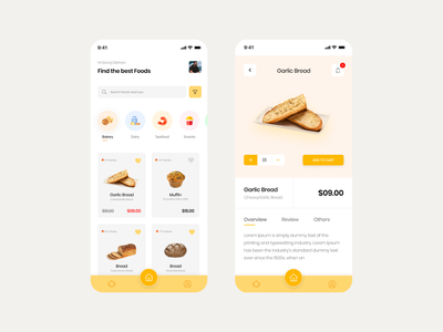 Food app UI Design food ordering app ui  ux design cart design orders food app food user interface design interface design app design app ui ui design ui design
