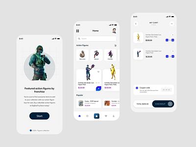 Action Figures Ecommerce App trendy ui ecommence minimal figmadesign ecommerce actionfigure action figma app design app ui design ui design