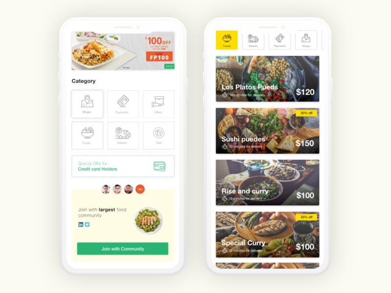 Food Ordering App Ui Design   Daily UI Design food delivery application app iphone x ux interface design app design adobe xd design app ui food delivery ordering app food app ui food delivery app food app ui design ui