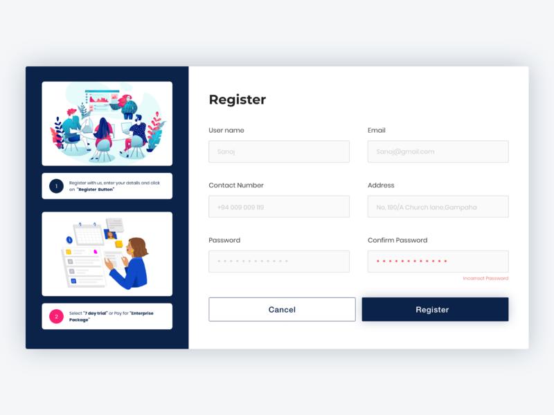 Register form Page Web UI Design register page register web register form registration page registration registration form user experience ux ui design ui web design web