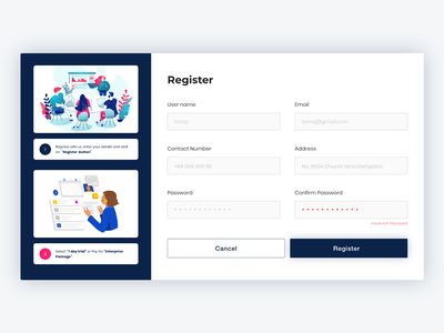 Register form Page Web UI Design register page register web register form registration page registration registration form user experience ux ui design ui web design web