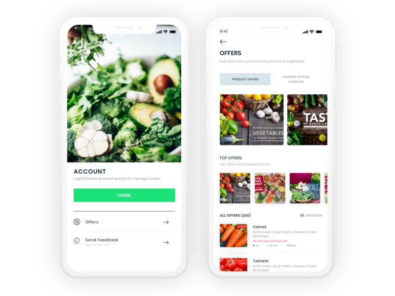 Vegetables and Fruits delivery App UI Design by Sanoj
