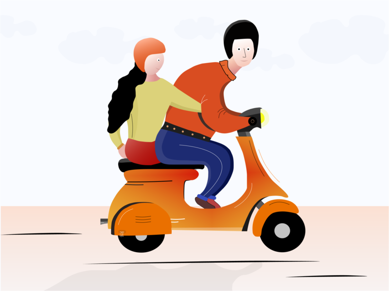 Scooter , With her . lover scooter vector design vector illustrator love scooter illustration