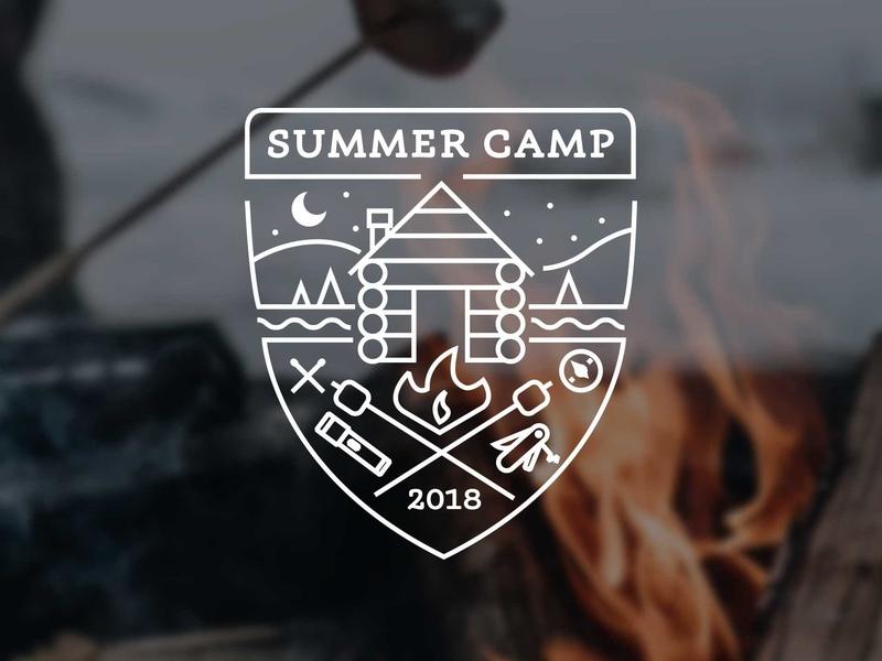 Summer Camp S'mores log cabin illustration summer camp logo
