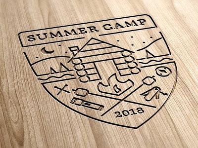 Summer Camp in Wood summer camp cabin illustration logo