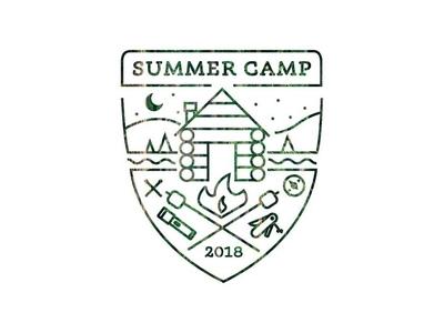 Summer Camp summer camp cabin illustration logo