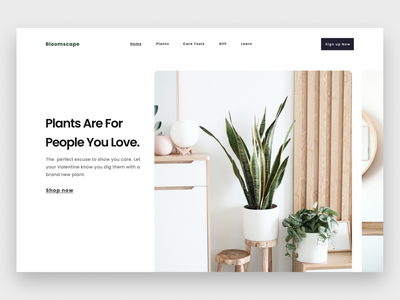 Exploration - Plant Store Company plants page landing homepage typogaphy bold clean whitespace grid ui design plant store website design website