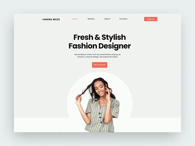 Landing Page Fashion Designer stylist stylish concept website webdesign minimal designer brown section hero header uiux homepage website design fashion clean ux ui landing page website