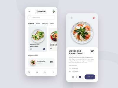 Delivery Food Mobile Apps salads minimal salad delivery ios app mobile food clean ux ui