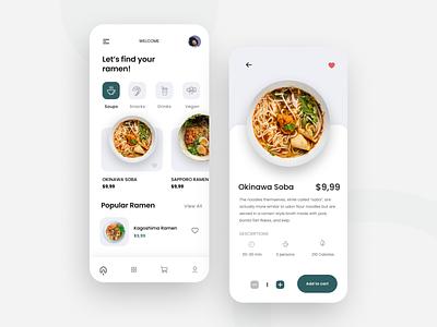 Delivery Ramen Mobile Apps ramen food delivery food app food minimal app design ux uiux clean ui