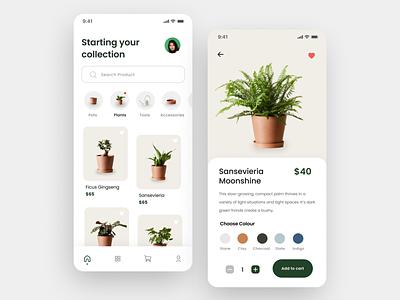 Plant Mobile App plantshop plants uidesign minimal app design ux uiux clean ui