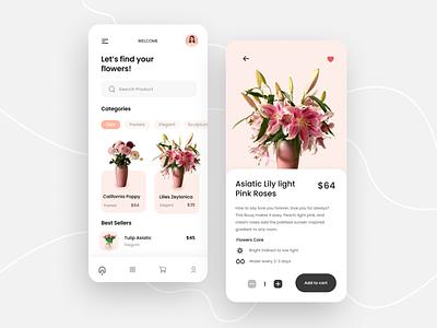 Flowers Mobile App flower arrangement mobile app mobile flower flowers plant pot design app minimal ux uiux clean ui