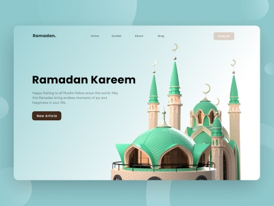 Exploration - Hero Section Ramadan Kareem Concept landingpage 3d website 3d landscape mosque 3d modeling 3d ramadan mubarak ramadan kareem ramadan hero section hero website uidesign minimal app design ux uiux clean ui