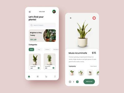 Exploration - Plant Store App plant plants flowers plants app plantshop mobile minimal design ux uiux clean ui