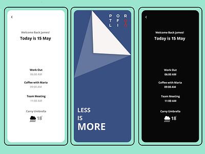 Minimalist Mobile App UI UX Design of Calendar black app design illustration ui design ui adobe xd uiuxdesigner ui  ux prototype mobile app design mobile ui ux