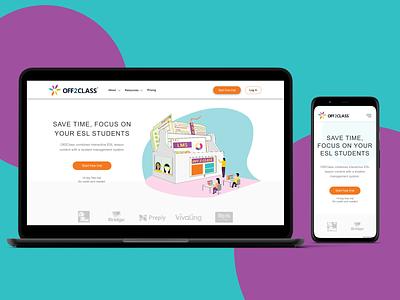 Off2class: Homepage colorful webdesign website design website ux branding ui illustration design