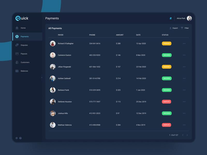 Quick - Online payment platform (Dark) system product experience interface user ux ui design interfaces dashboard clean app payment table list platform dark mode night dark