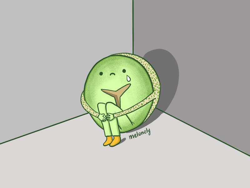 Melonely green ipad doodle wordplay lonely melon cartoon illustration