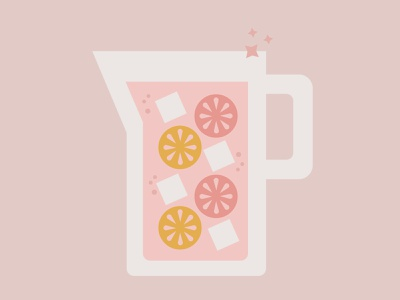 Pink Lemonade Pitcher sparkle iced illustration graphic citrus lemon drank lemonade