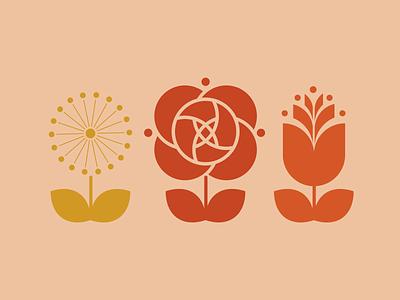 Simply Flowers dandelions dandelion tulips tulip roses design illustration flower shop flower logo icons flower illustration flowers flower