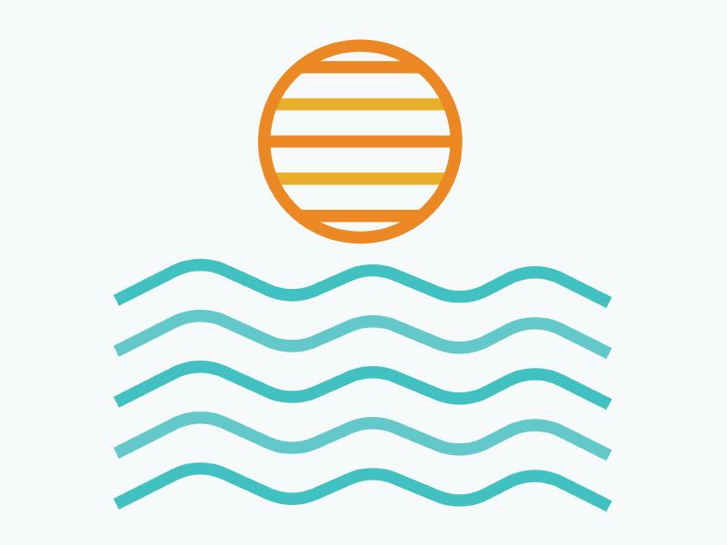 Sunset graphic  design graphic illustration beach ocean water sun waves san diego sunset