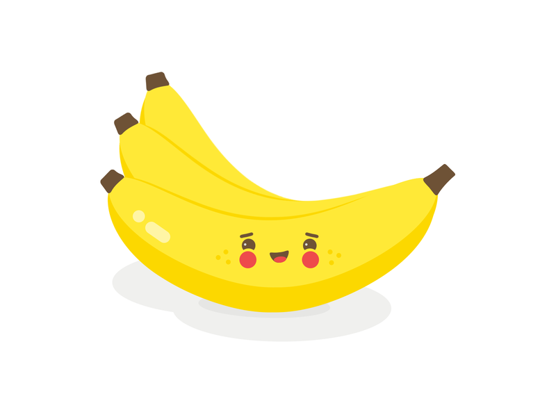 Bananas flat designs cartoon yellow healthy food fruits bananas banana fruit cute flat illustration flat design photoshop design adobe