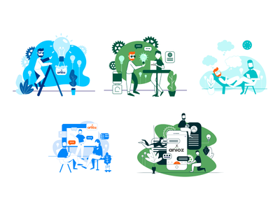 Idea  creation color process draw art creative web design ui vector flat character illustration