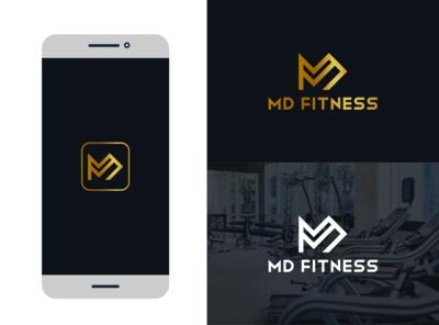 MD Fitnes identity icon lettering fiverr logo vector illustrator branding minimal brand