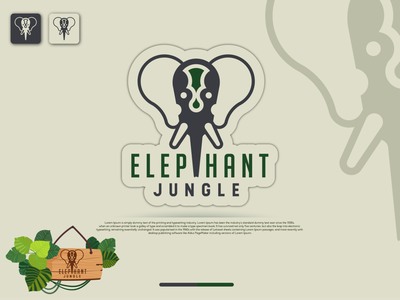 Logo Elephant Jungle illustration design typography vector logo identity fiverr branding illustrator minimal brand