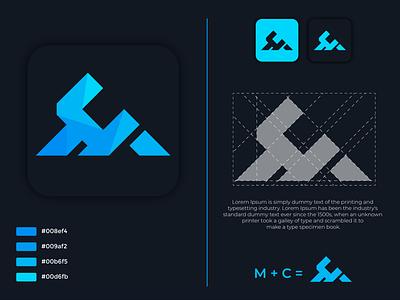 MC logo lettering illustration design typography vector logo identity fiverr branding illustrator minimal brand